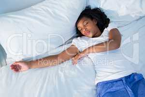 Girl sleeping in bed