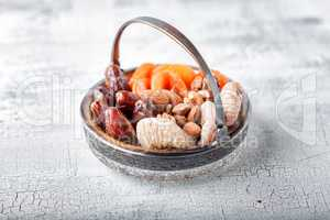 Mixture of dried fruits and nuts