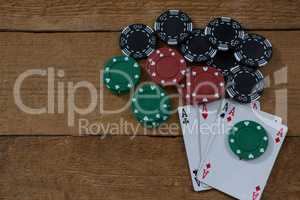 Overhead view of aces and chips