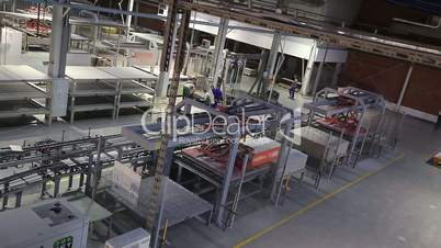 Production conveyor, conveyor line, conveyor belt, ceramic tile, kiln firin, Production of ceramic tiles, production interior, Ceramic tile factory, modern production interior, Indoors, inside