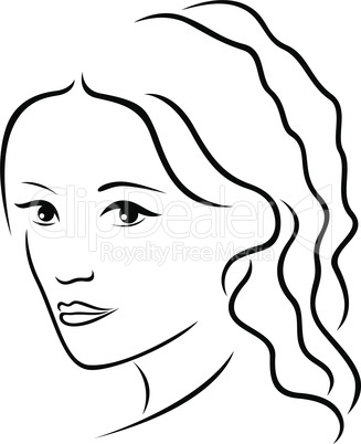 Abstract young women portrait outline