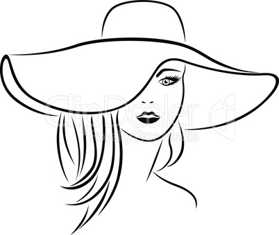 Abstract attractive young women in hat