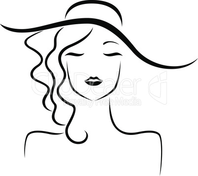 Abstract girl in hat stylized portrait
