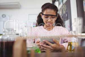 Elementary student using digital tablet