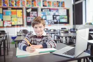 Portrait of smiling elementary schoolboy studying in classroom