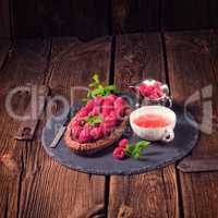 Delicious raspberry chocolate tart with ricotta cheese