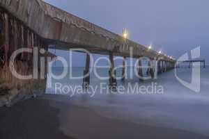 Under Pacifica Municipal Pier at Dusk.