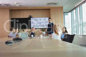 Business entrepreneurs discussing during meeting