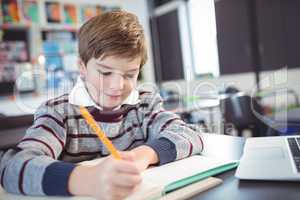 Smiling elementary schoolboy studying in classroom