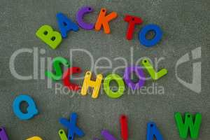Block letters arranged on chalkboard