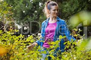 Smiling woman touching plants in backyard