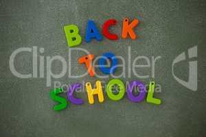 Block letters arranged on chalkboard