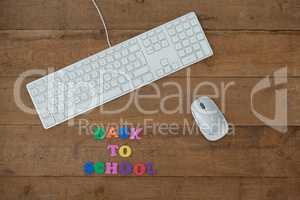 Keyboard, mouse and block letter with back to work text