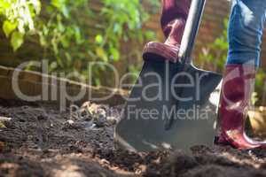 Surface level view of senior woman standing with shovel on dirt