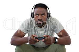 Concentrate man playing video games