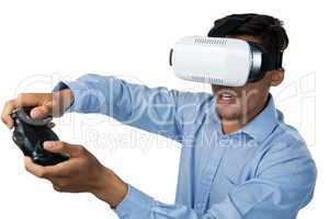 Creative businessman wearing vr glasses while video game