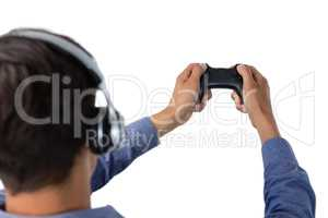 Cropped image of businessman playing video game