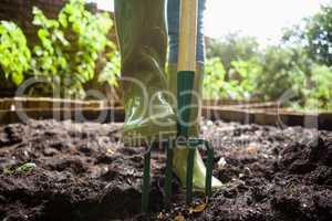 Low section of woman standing with gardening fork on dirt