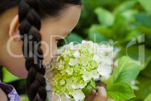 Cropped image of girl smelling white and green flowers