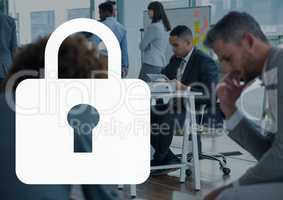 Lock icon against office background