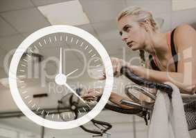 Clock icon against woman exercising photo