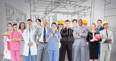 Group of people with different professions standing in front of factory drawing