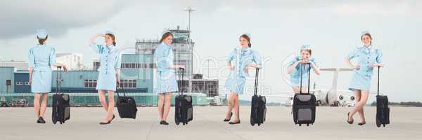 Stewardess holding baggage collage against airport background