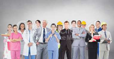 Group of people with different professions standing in front of blank grey background
