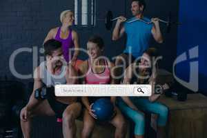 Search bar against people exercising photo