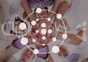Connection circle icon against friends photo