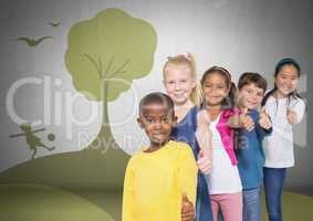 Group of children standing in front of playful nature park graphics