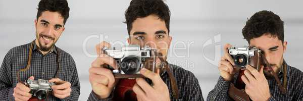 Photographer using the camera collage against blurred background