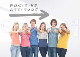 Group of friends standing in front of Positive attitude arrow