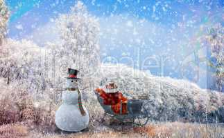 Christmas background: a snowman and trees in frost. 3D illustrat