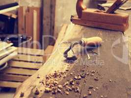 Carpenter tools on a wooden workbench