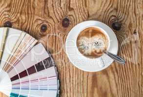 Color palette and coffee cup