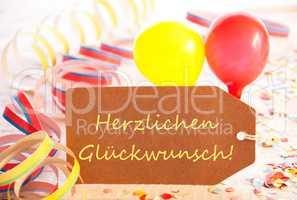 Party Label, Balloon, Streamer, Herzlichen Glueckwunsch Means Congratulations
