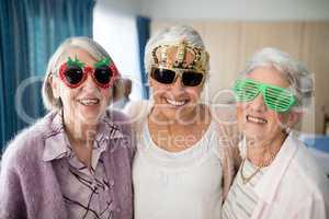 Portrait of smiling senior women wearing novelty glasses
