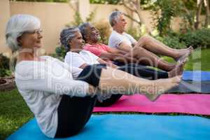Dedicated senior friends doing stretching exercise