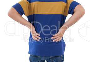 Mid-section of boy having an back pain