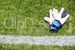 High angle view of sports gloves