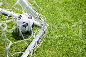 High angle view of soccer ball by goal post