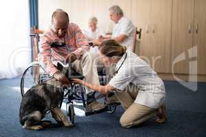 Female doctor kneeling by disabled senior man stroking puppy