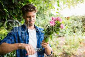 Man trimming flowers with pruning shears in garden