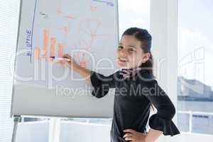 Portrait of smiling businesswoman writing on whiteboard during meeting