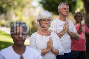 Senior people meditating in prayer position while standing