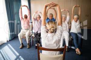 Rear view of female doctor exercising with senior people