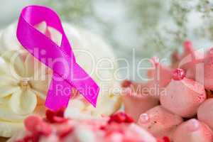 Close-up of pink Breast Cancer Awareness ribbon on cupcake