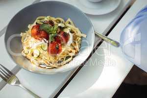 Noodles in bowl at restaurant
