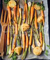 caramelised carrots, spring onions and baked potatoes